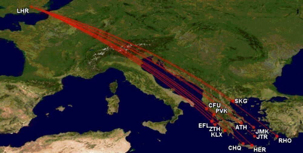 Heathrow to Greece routes