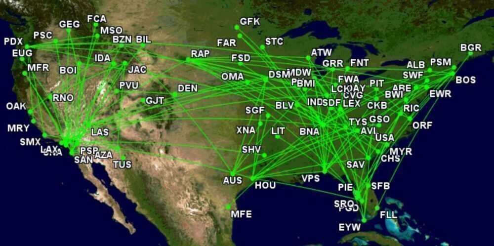 Allegiant's added routes since 2019.
