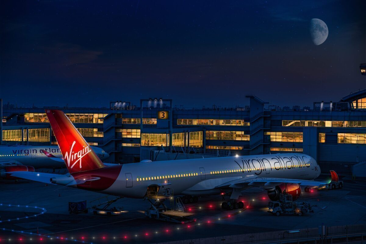 Virgin Atlantic Airbus A350 sits in the moonlight