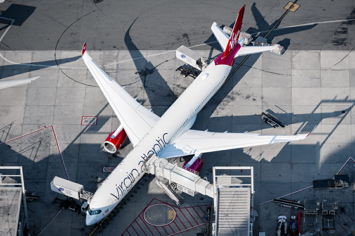 Virgin Atlantic A350 at the gate in New York