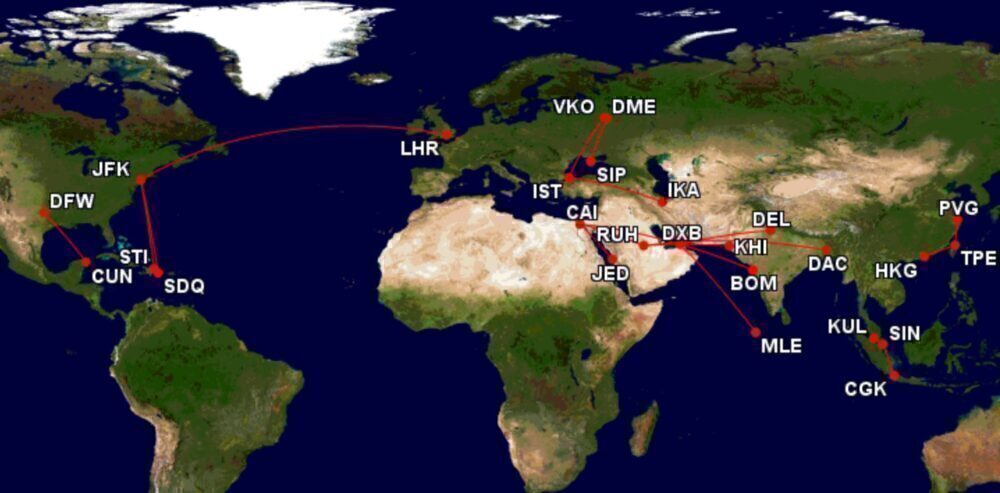 World's top-20 international routes
