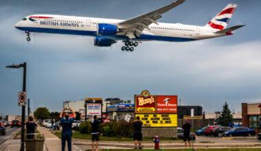British Airways A350 landing in Canada