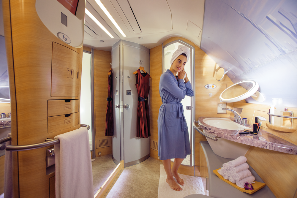 Emirates A380 shower.