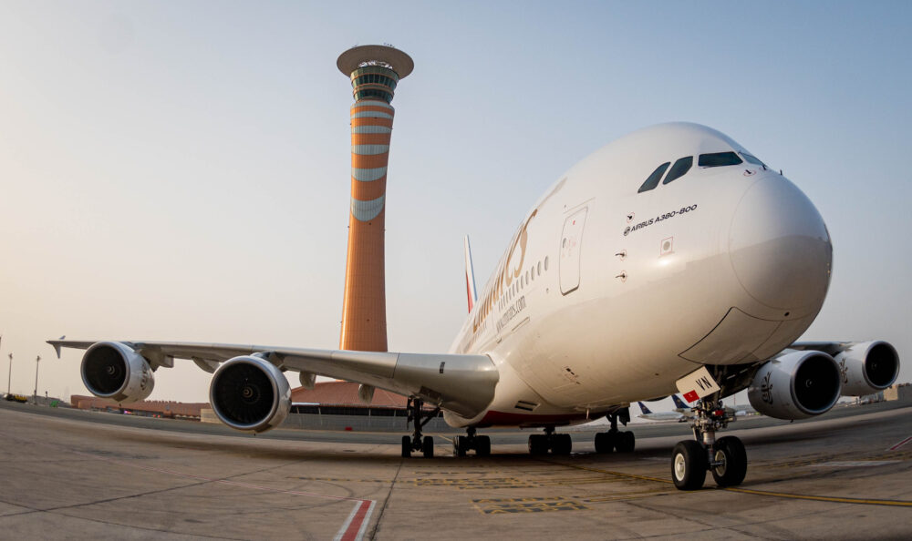 Emirates Airbus A380 at Jeddah's new terminal