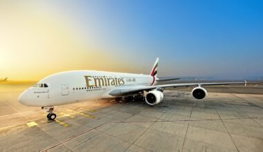 An Emirates Airbus A380 in front of the sunset