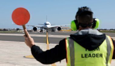 A Lufthansa Airbus A350 being marshalled in Malta