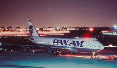 Pan Am Boeing 747-100 being pushed-back by a tug at night