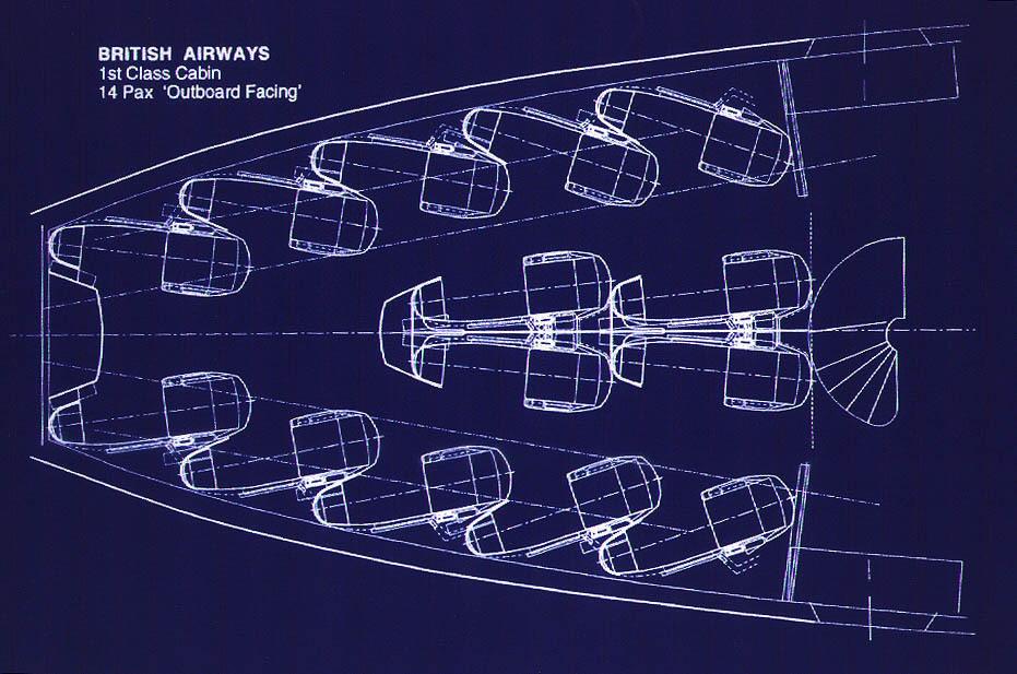 BA B747 - Zone A Seat Layout Blueprint