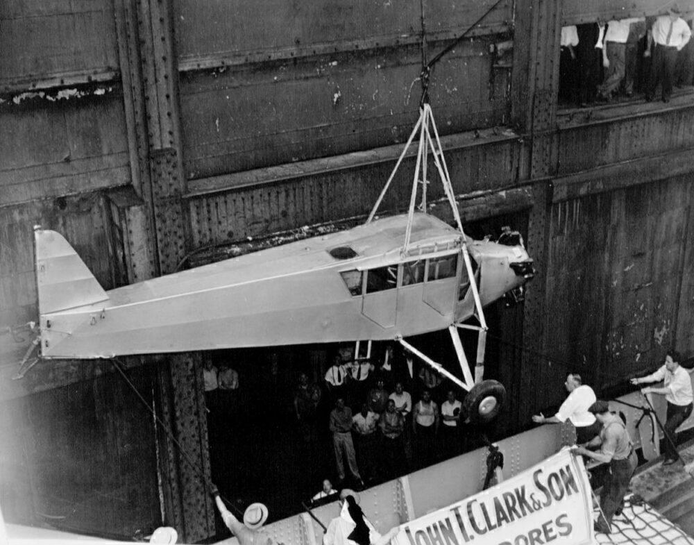 Douglas Corrigan's plane returning to the US via ship