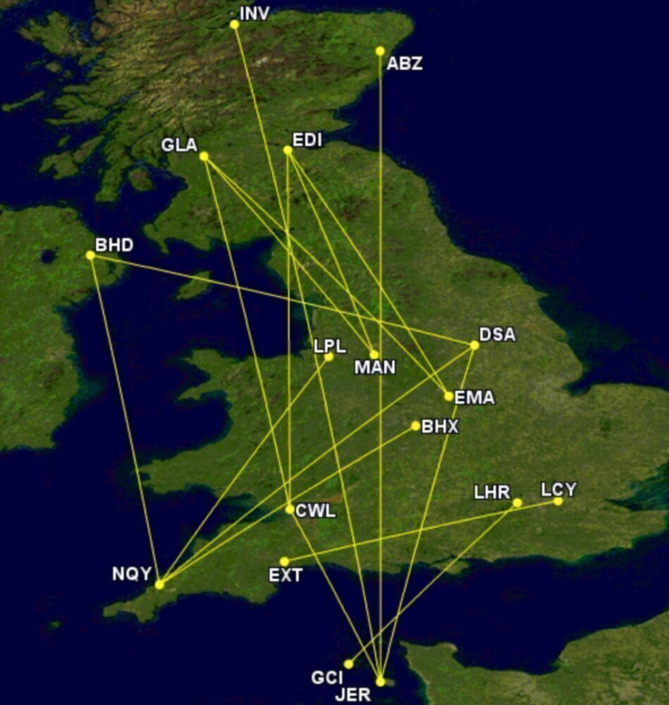 Flybe's unserved routes