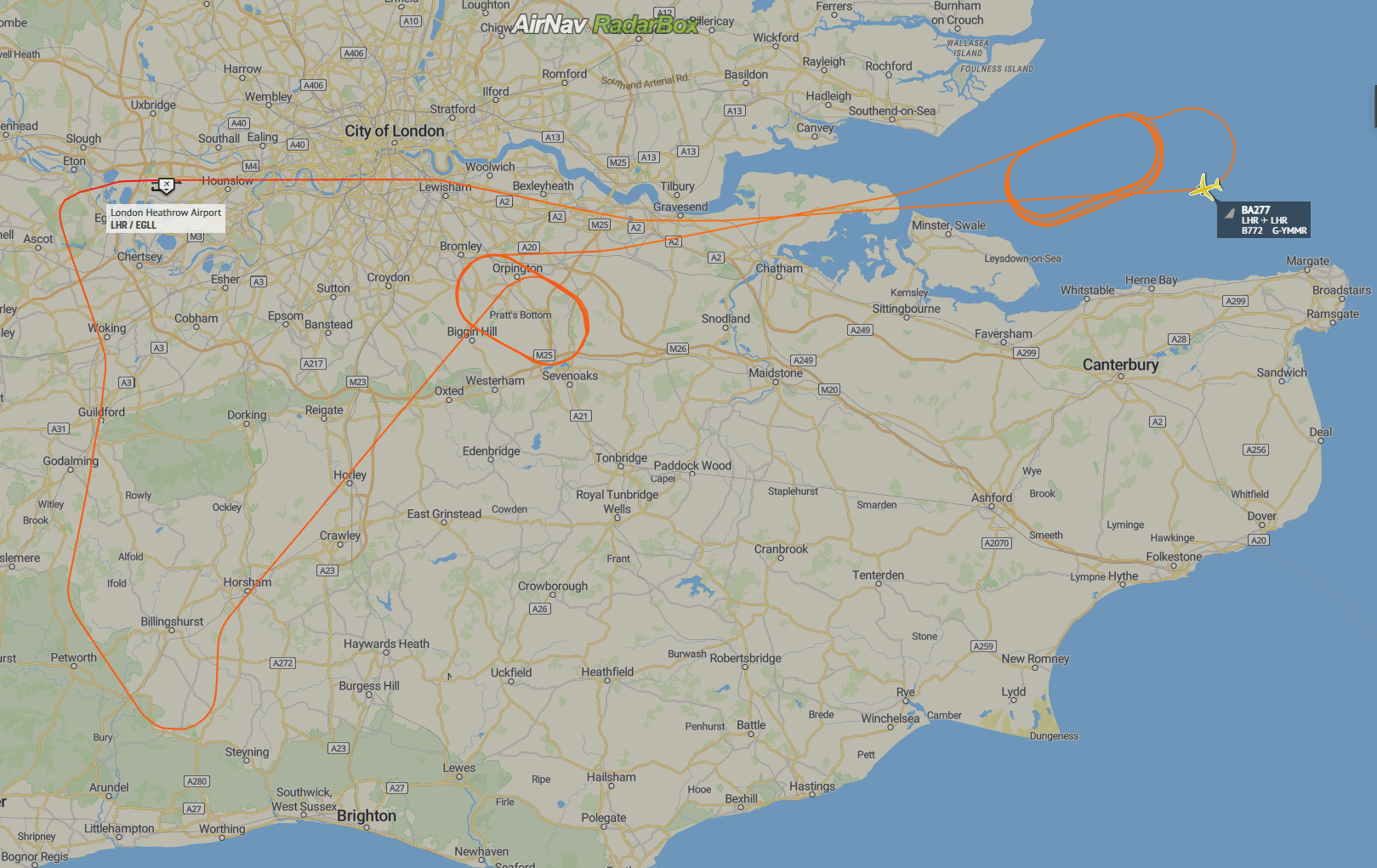 Map showing flight path of G-YMMR