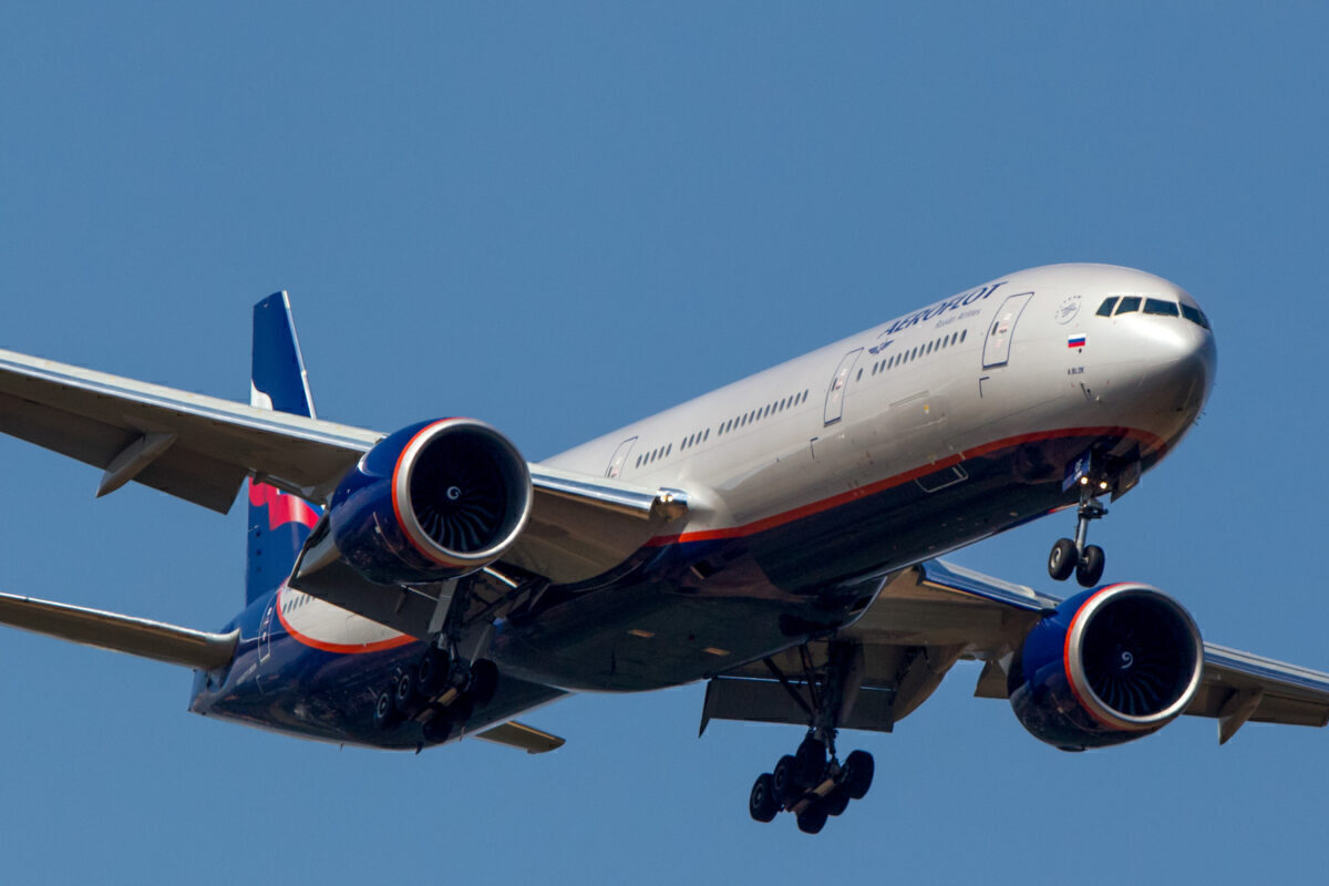 Boeing 777-300ER civil jet airplane of Aeroflot Russian Airlines approaches Sheremetyevo airport