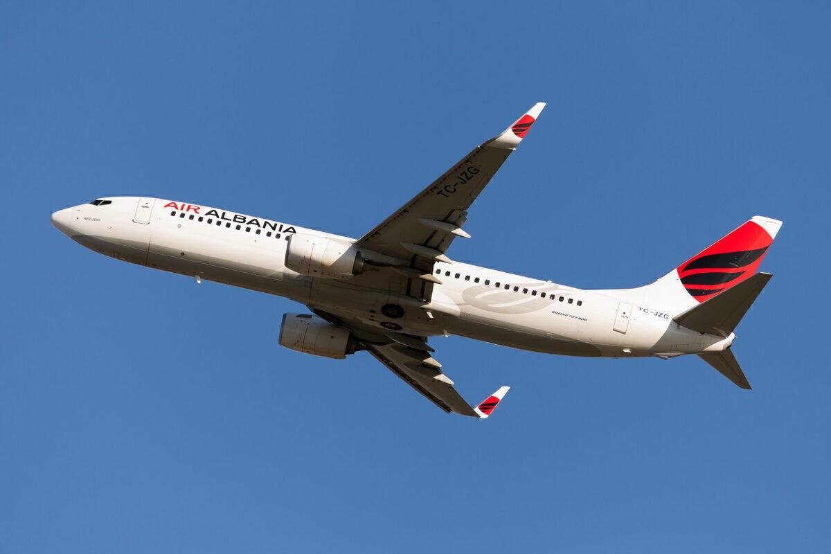 An Air Albania Boeing 737-800 leaves Milan Malpensa airport