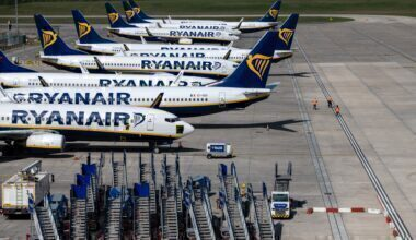 Parked Ryanair Boeing 737s at Stansted Airport