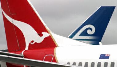 The tail of an Australian Qantas aircraf