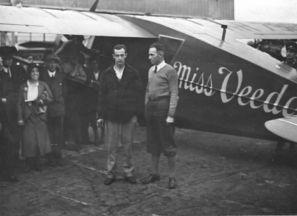 The American Ocean Pilots Hugh Herndon (Left) And Clyde Edward Pangborn On Their Arrival In Berlin-Tempelhof. 30Th July 1931. Photograph.