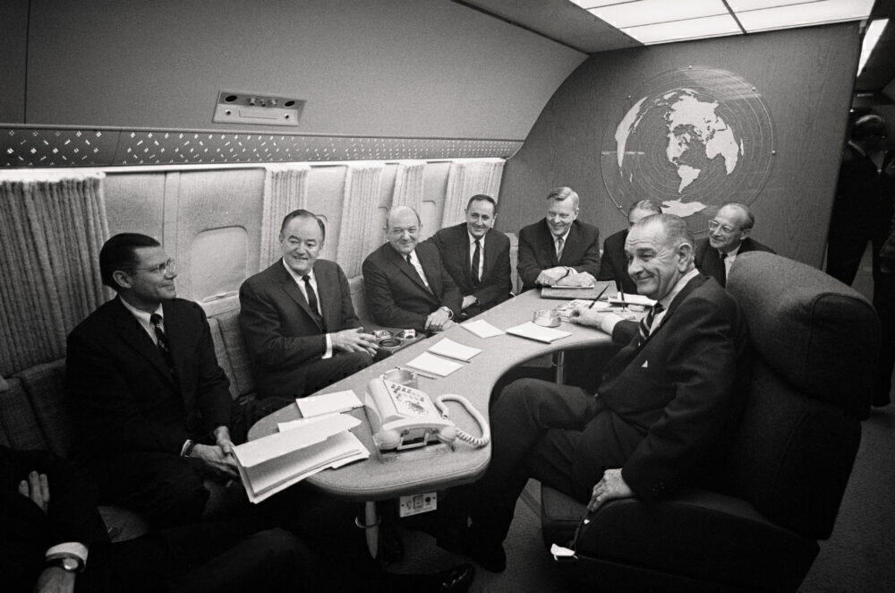 President Johnson onboard Air Force One in 1966.