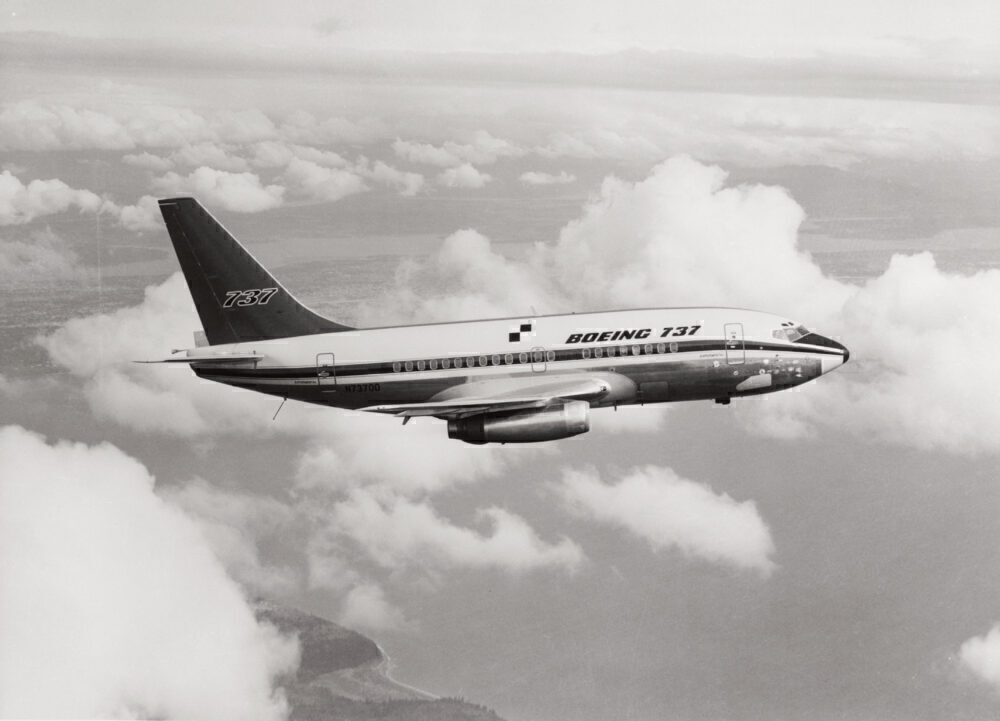 A Boeing 737 Airplane in Flight