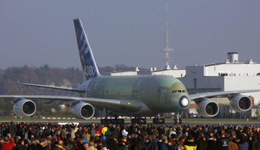 Aerial Views of Giant Airbus A380 In Hamburg