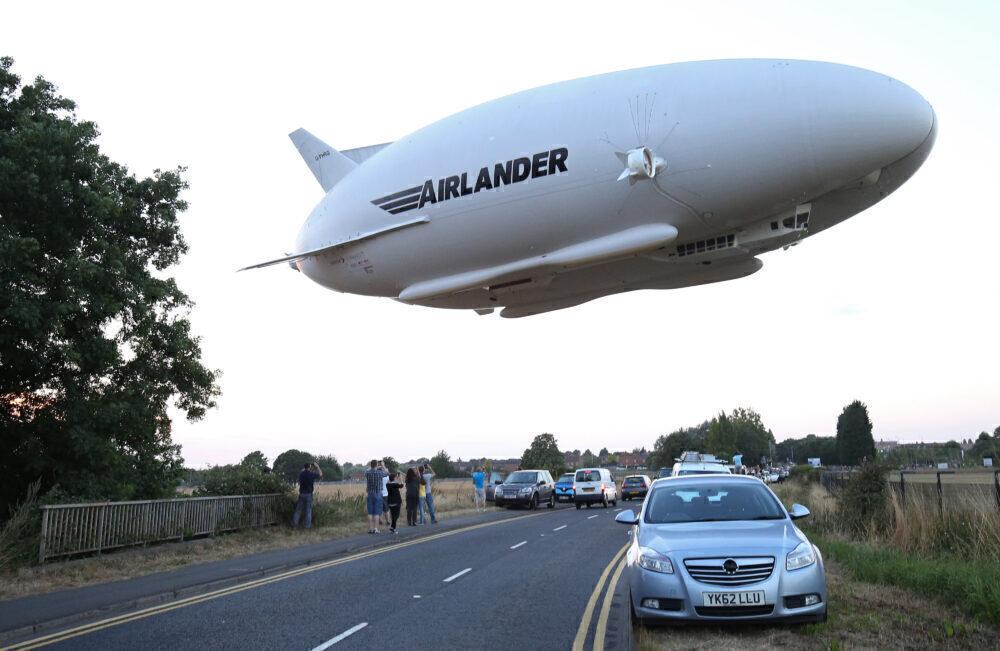 Airlander 10 flight over road