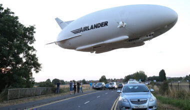 Airlander 10 flight over road