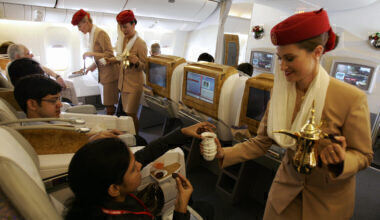 Emirates Airlines flight attendants serv
