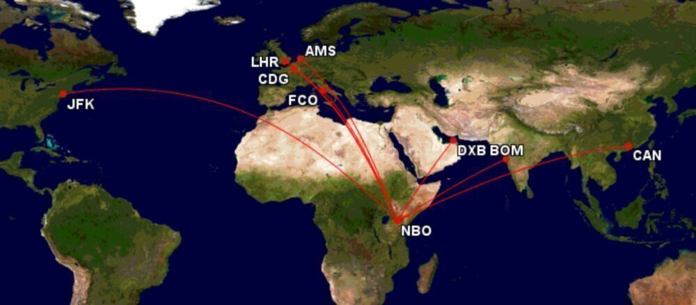 Kenya Airways' route map