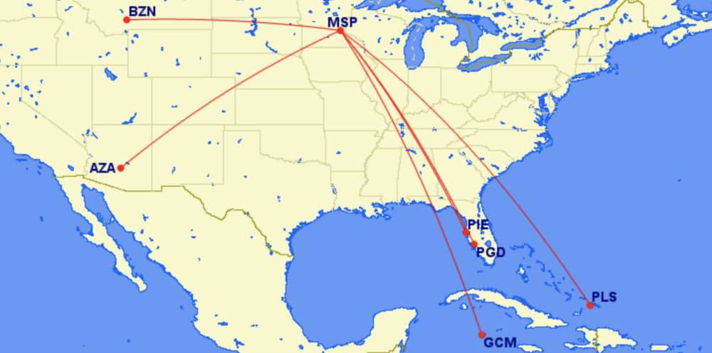 MSP Sun Country new Routes