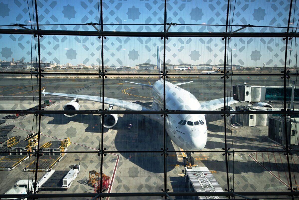 Emirates Airbus A380 At The Gate