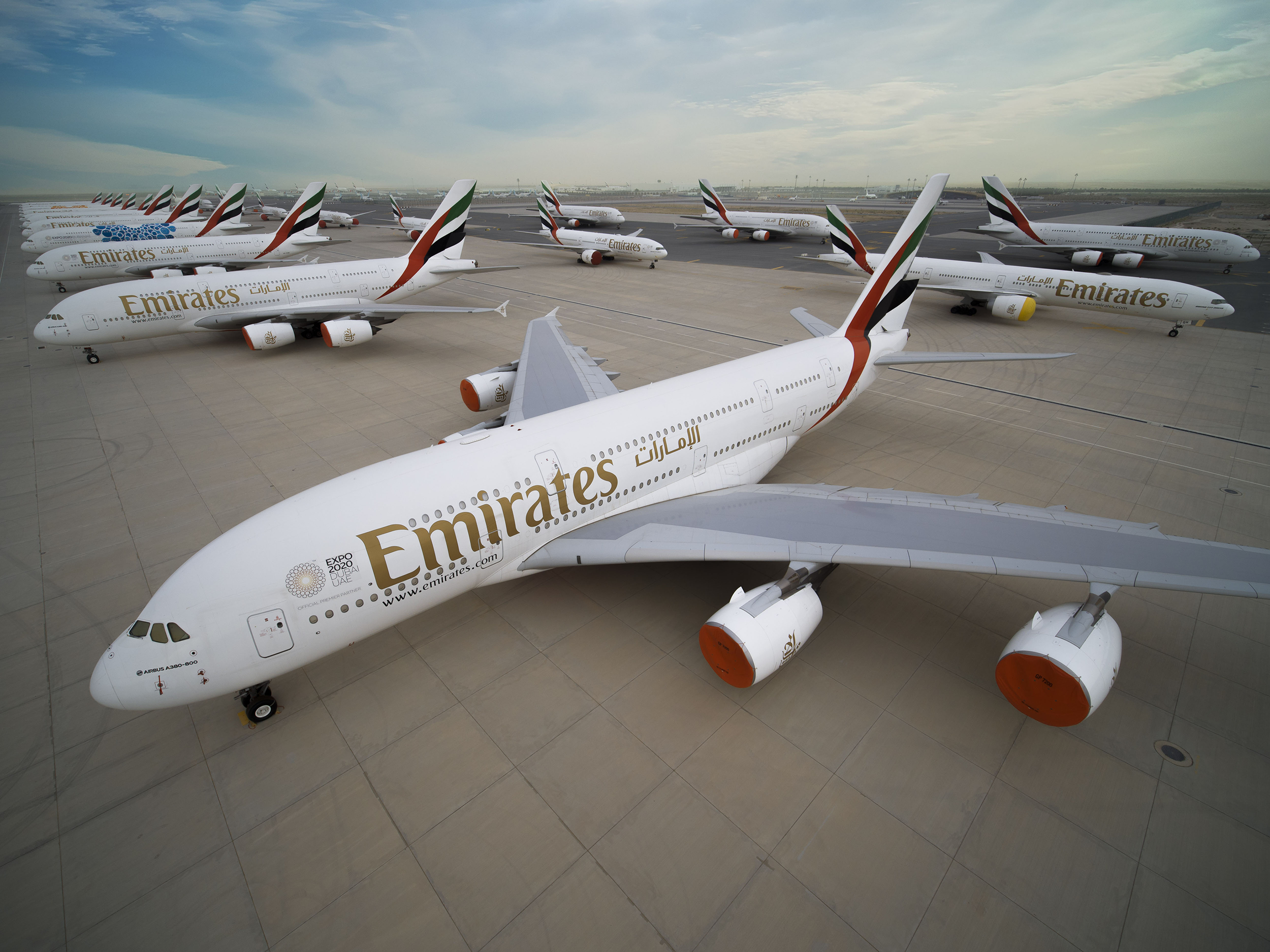 Grounded Emirates A380s at DWC