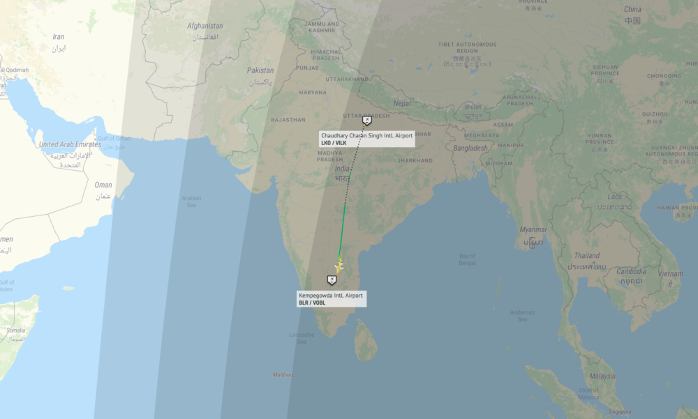 IndiGo A320 Emergency Landing Map