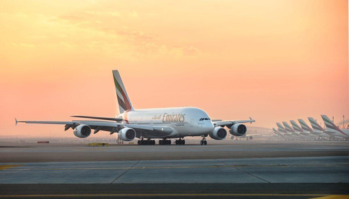 An A380 on the ground in Dubai