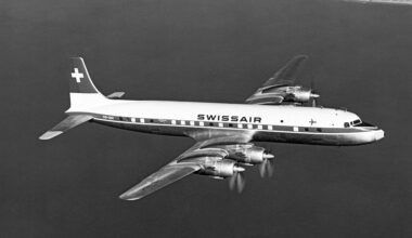 Swiss Air DC-7 In Flight