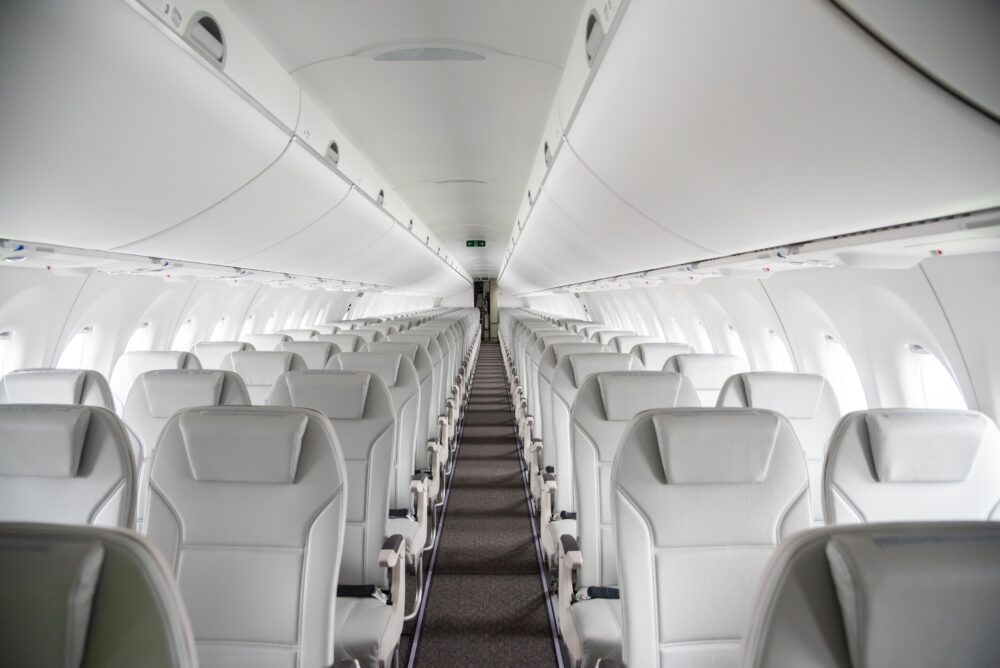 Cabin of milestone airBaltic A220