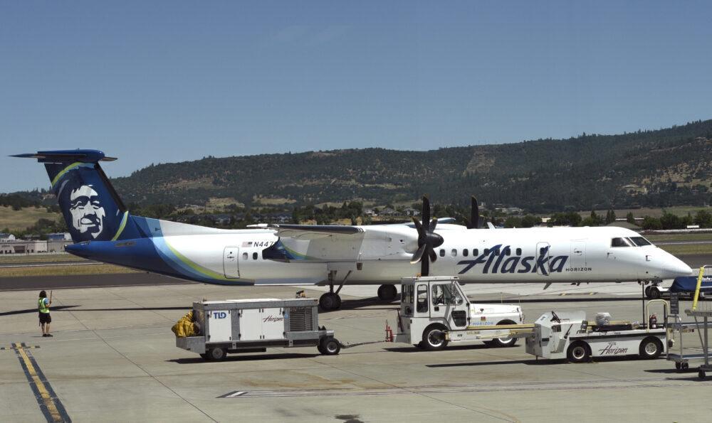 Alaska Airlines Horizon Air passenger jet at Medford International Airport, Oregon