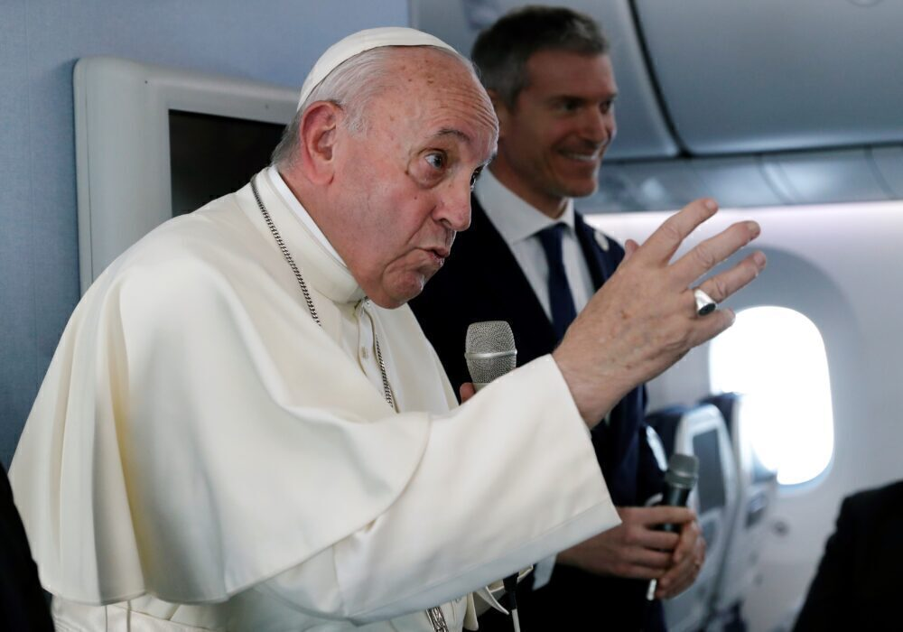 Pope press conference flight Getty