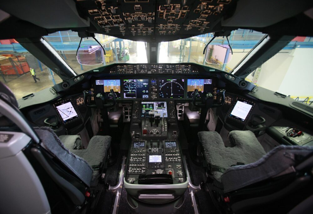 A picture shows the view of the cockpit
