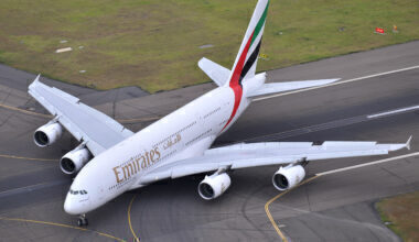 Emirates Airbus A380 Lands Into Sydney, Australia