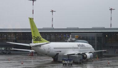 Air Baltic fleet in Riga airport, Latvia