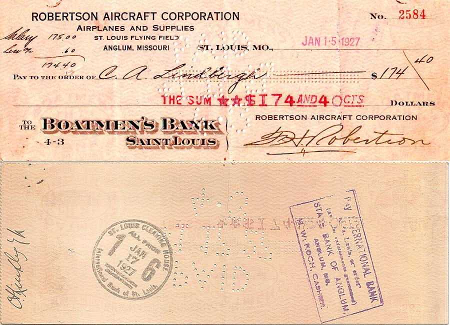 Charles Lindbergh Paycheck