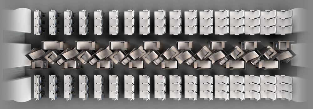 Layered Rhombus premium economy concept