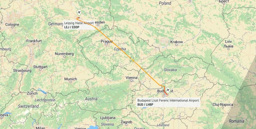 DHL 757 Flight Map