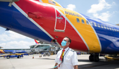 Southwest Airlines Employees wearing face coverings around the c