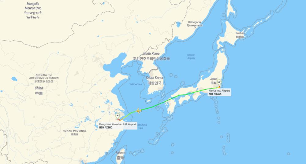 ANA Tokyo Hangzhou Map