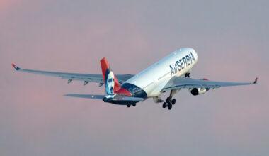 Air Serbia A330 take off YU-ARB