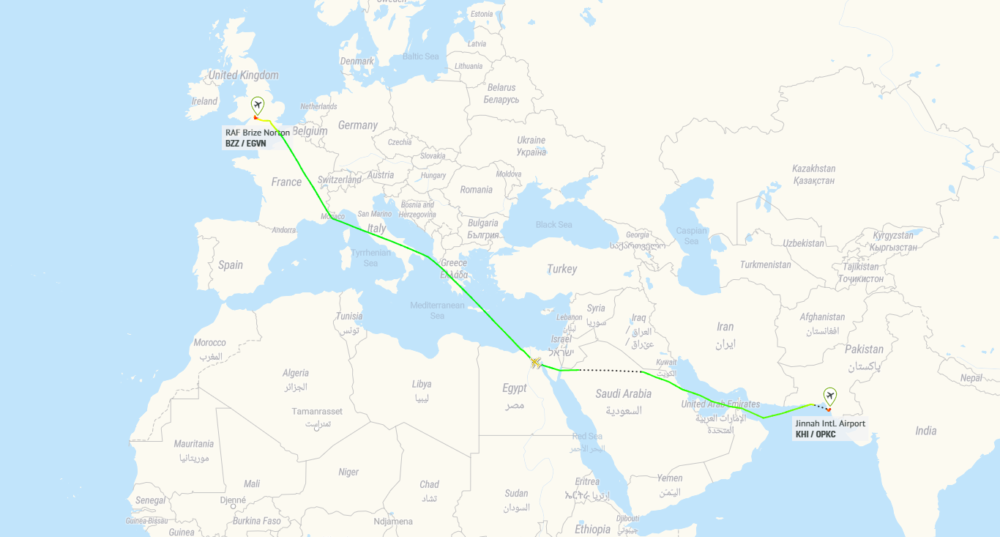 An-225 Karachi Brize Norton Flightpath