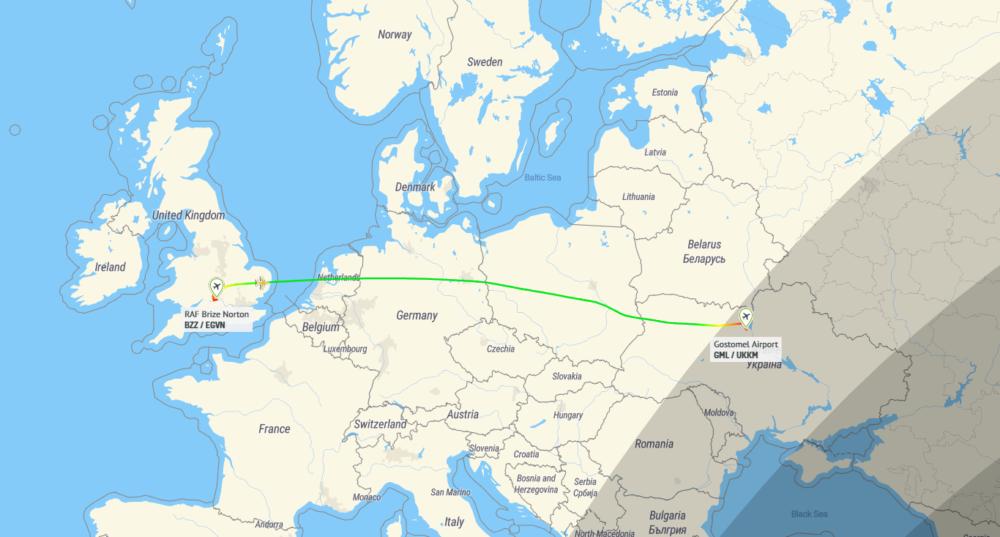 Antonov Brize Norton Kiev Flightpath