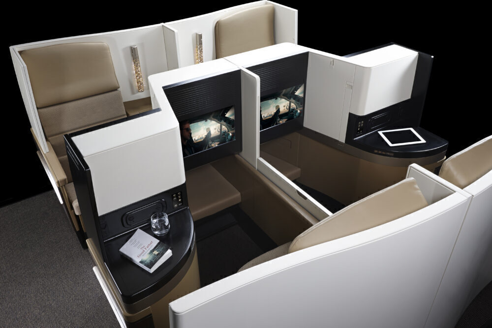 Etihad Business Class Centre Privacy Screen down