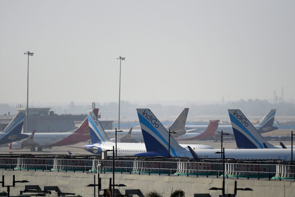 Multiple Indian airlines parked