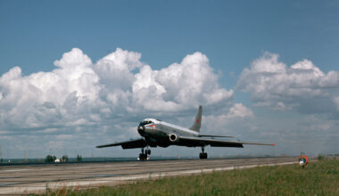 A Tupolev TU-104 Aircraft Takes Off From Novosibirsk